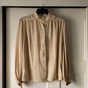 Vintage nude satin blouse